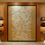 "FW0050 Japanese tea store, NYC, Washi mounted door 72"" x 84"""