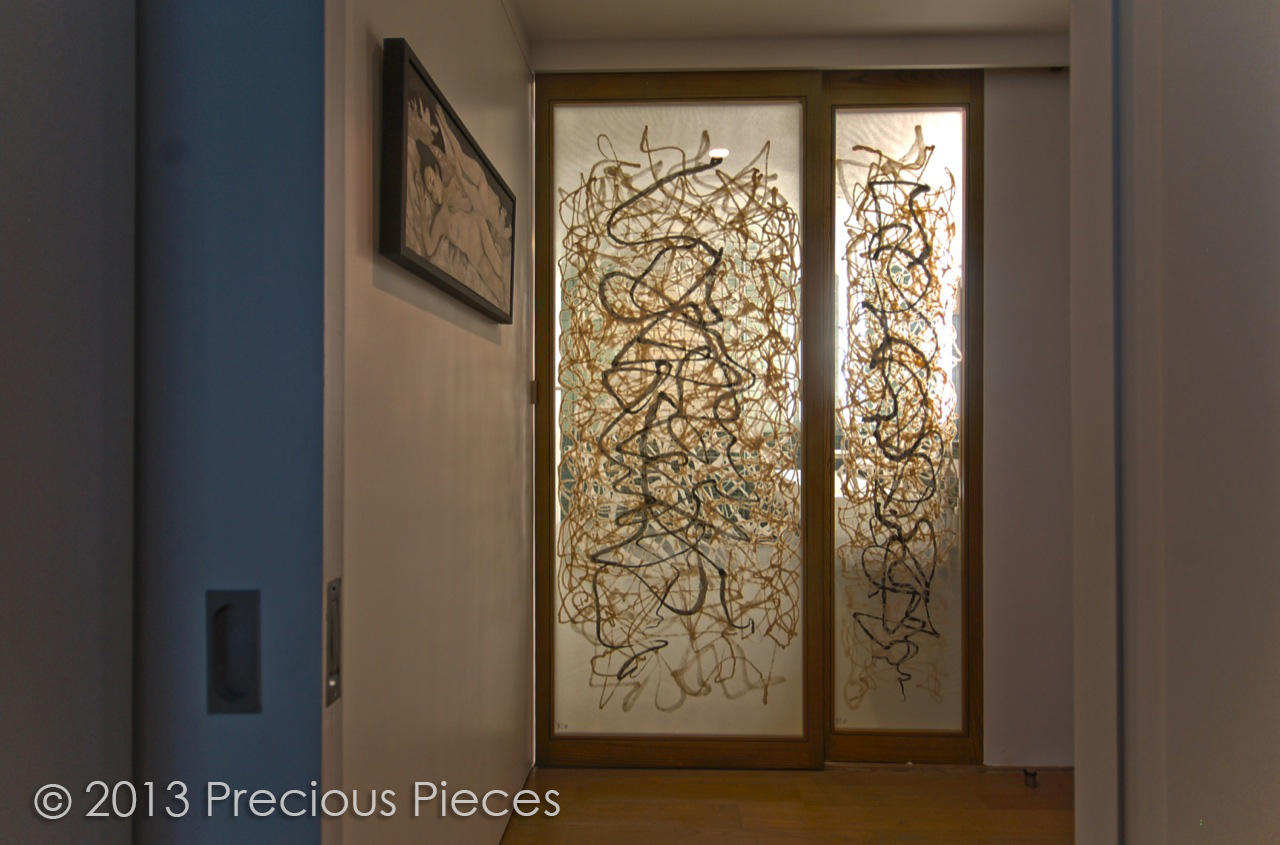 Calligraphic Washi Sliding Doors for Modern Bathroom – Precious ...