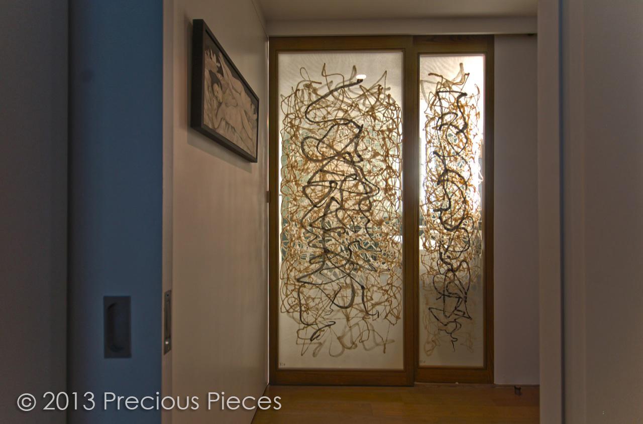 Interior sliding doors for bathroom - Calligraphic Washi Sliding Doors For Modern Bathroom