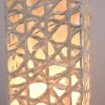 "AC-0086 Washi floor lamp, 8"" x 8"" x 64"""