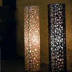"AC-0076 Washi floor lamp, 8"" x 8"" x 64"""