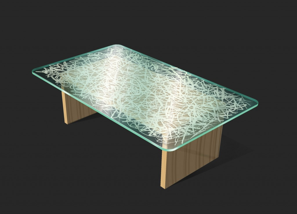 Washi Laminated Glass Table