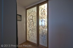 Calligraphic Washi Sliding Doors for Modern Bathroom