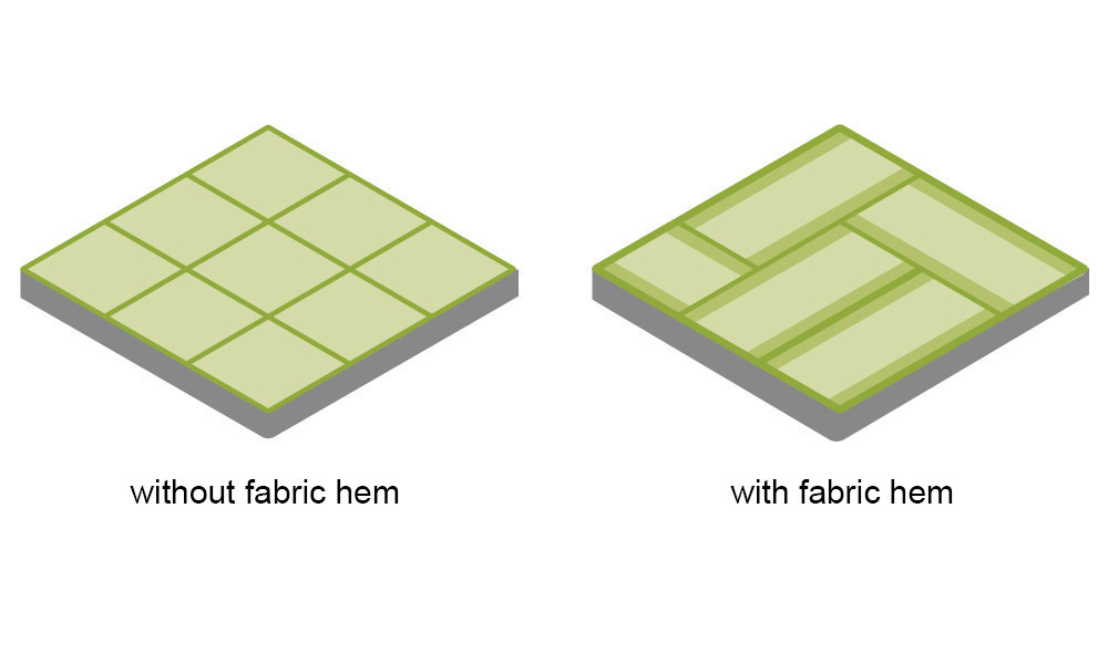 Two types of Washi Tatami are available: washi with a fabric hem or without fabric.