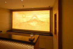 Illuminated Glass Art Washi Parchment for a Steakhouse's Reception