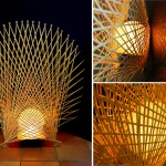 """AC-0041 spherical Washi lamp with bamboo ornament, 26"""" x 32"""" x 10"""""""