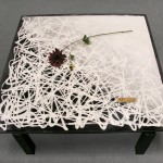 "AC-0038 Washi laminated glass table 40"" x 40"""
