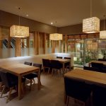 """LT0001 ceiling lamps, Japanese restaurant, NYC, 12"""" x 24"""" x 20"""" each"""
