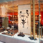 """SG-0015 Washi screen with calligraphic design, retail store window, NYC 42"""" x 76"""""""