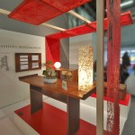 """SG-0006 show booth sign, ICFF 2012, NYC 20"""" x 72"""", table top lamp (front) 10"""" x 10"""" x 32"""", table top lamp (back) ø14"""""""