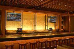 Illuminated Laminated Glass Washi Wall for an Upscale Restaurant's Bar